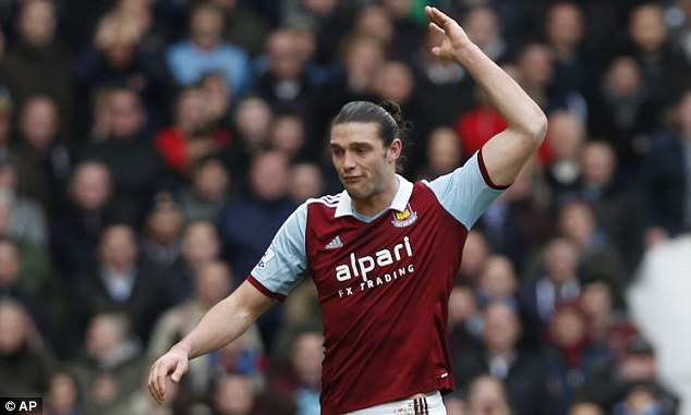 Controversial: Andy Carroll serves the final match of this three-game suspension following the England striker's red card against Swansea at the start of the month