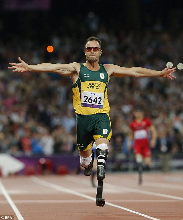Hero to zero: Pistorius pictured here winning gold at the London 2012 Paralympic Games