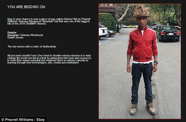 Bid listing: Pharrell in his eBay listing said the hat would come with a letter of authenticity