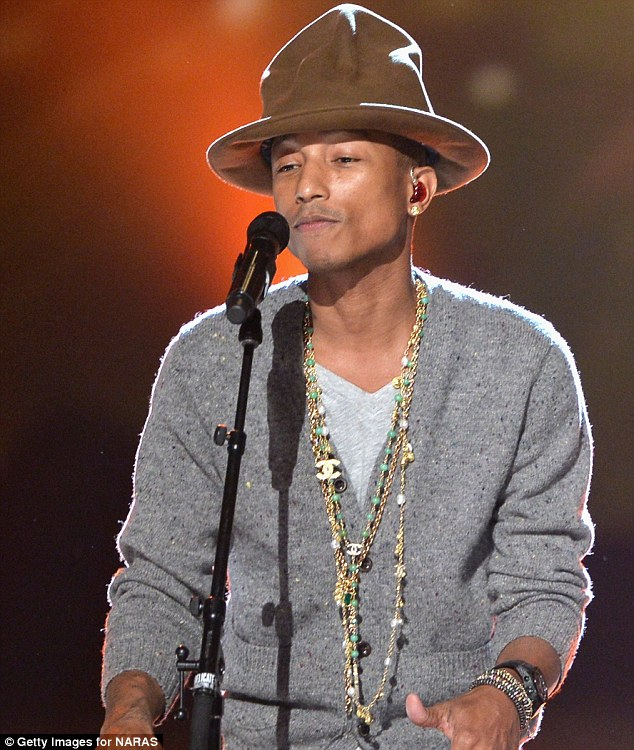 Up for auction: Pharrell Williams, shown in January in Los Angeles, has put the Vivienne Westwood hat he wore to the Grammys up for auction with proceeds going to his charity foundation