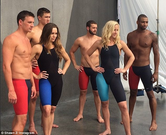 Dream team: Ryan joined fellow swimmers Nathan Adrian, Cullen Jones, Eddie Moses, Natalie Coughlin, and Jessica Hardy on the shoot for Speedo