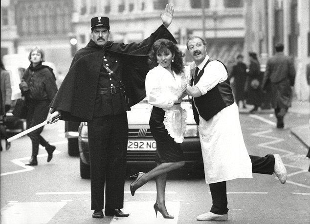Good moaning: Arthur Bostram (left) played it for laughs as Officer Crabtree in Allo Allo