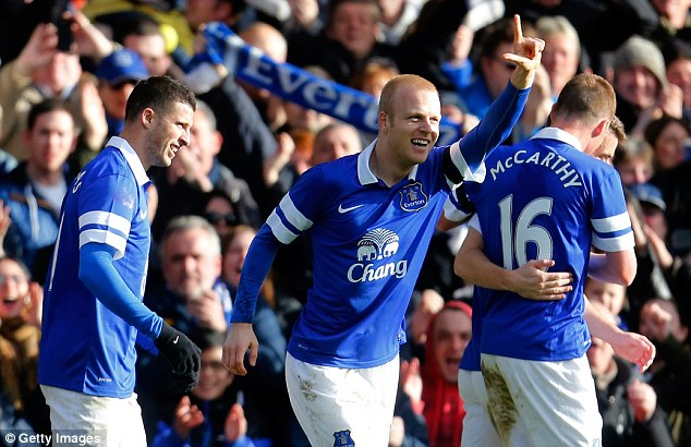 Same again: Steven Naismith was on target for Everton last weekend in their FA Cup win over Swansea - and the Scotland international scored the winner when they played Chelsea earlier in the season