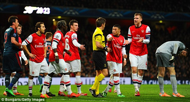 Long odds: Arsenal are 100/1 for Champions League glory after losing 2-0 to Bayern Munich at the Emirates
