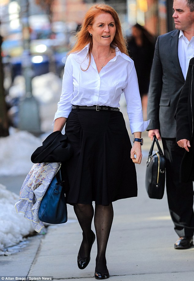 Suits you, Sarah! The Duchess of York was seen taking advantage of unseasonably warm weather in New York City yesterday