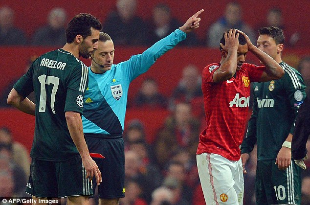 Controversy: Nani was sent off for Manchester United in their defeat to Real Madrid last season