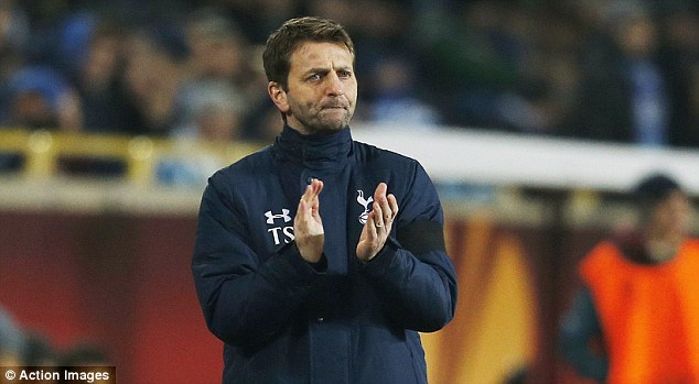 Pensive: Spurs boss Tim Sherwood watched his side struggle in the final third against Dnipro