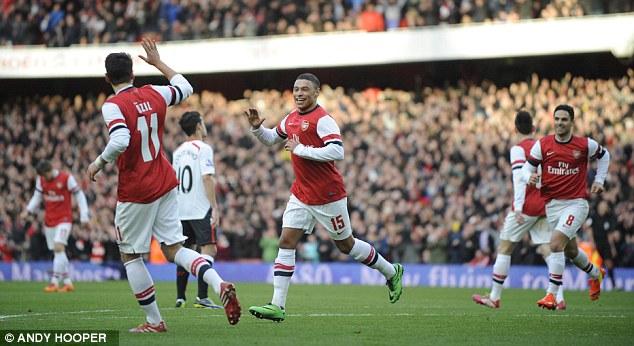 Arsenal's Alex Oxlade-Chamberlain celebrates