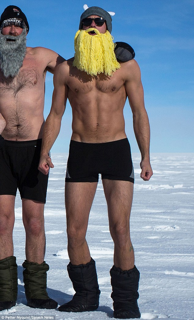 He's a Norse god! Alexander Skarsgard shows off his toned physique in boxers, and wears a blonde beard with a horned hat in a new photo from his 200km charity trek to the South Pole