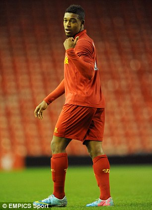 On the pitch: Liverpool want the youngster to build up more first team experience