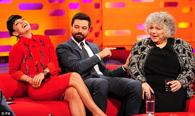 On the sofa: Lily joined Dominic Cooper and Miriam Margolyes at the London Studios