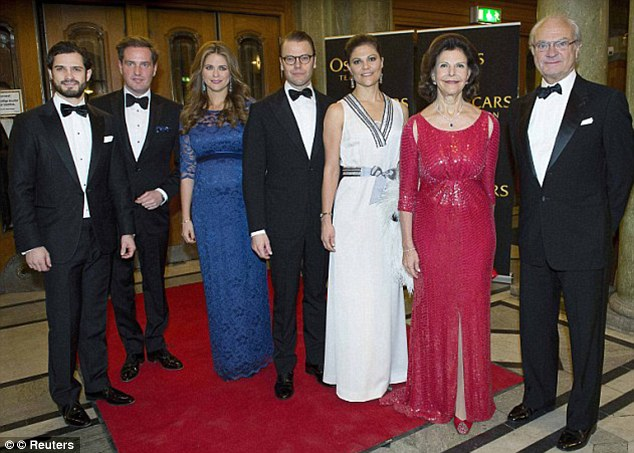 Happy family: Madeleine, daughter of King Carl XVI Gustaf and Queen Silvia (far right), and O'Neill wed in June in Stockholm