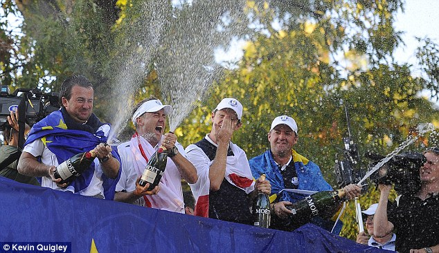 Miracle at Medinah: Mcdowell celebrates with Ian Poulter, Justin Rose and Peter Hanson in Chicago