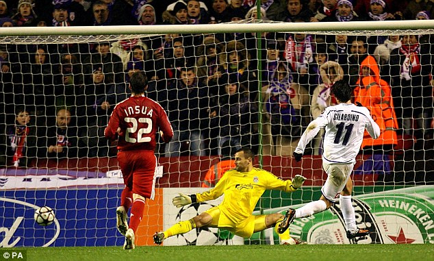 Long absence: Fiorentina's Alberto Gilardino scores in the 2-1 win over Liverpool in 2009 - the last time the Reds featured in the Champions League