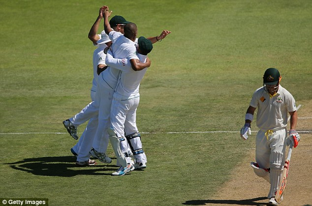 Big wicket: David Warner had raced to 70 as the top order fell around him, but he was out early in the day