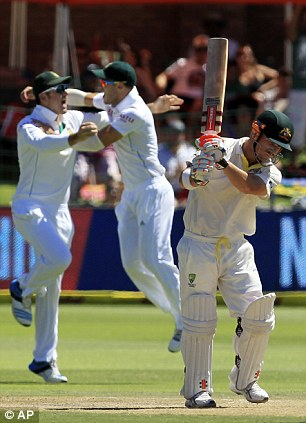 Frustrated: The opener was in a hurry to reduce South Africa's lead but was out for 70