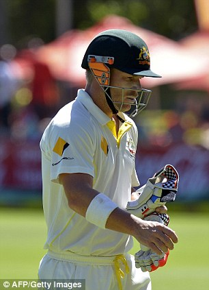 Head down: Warner was caught by Graeme Smith off the bowling of Vernon Philander