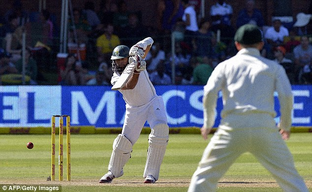 Got it covered: Amla's composed innings has extended the host's lead to 369 to put them well in control
