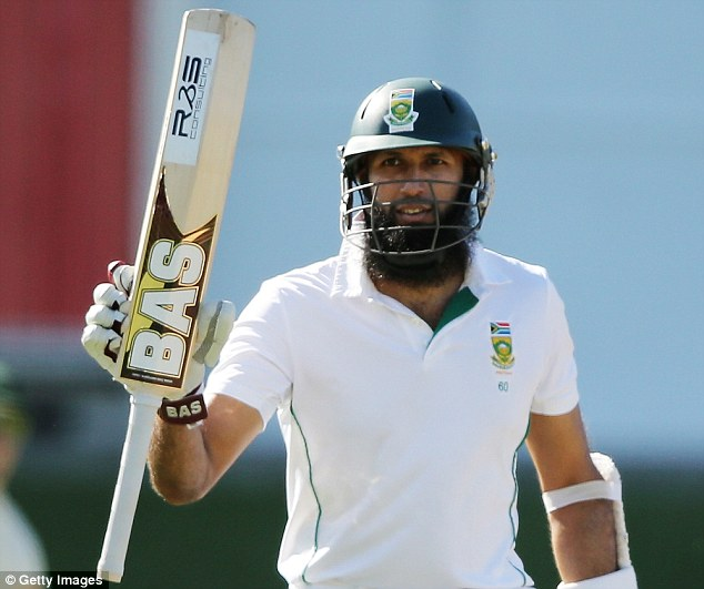 In form: South Africa's Hashim Amla is 93 not out at stumps on day three of the second Test against Australia
