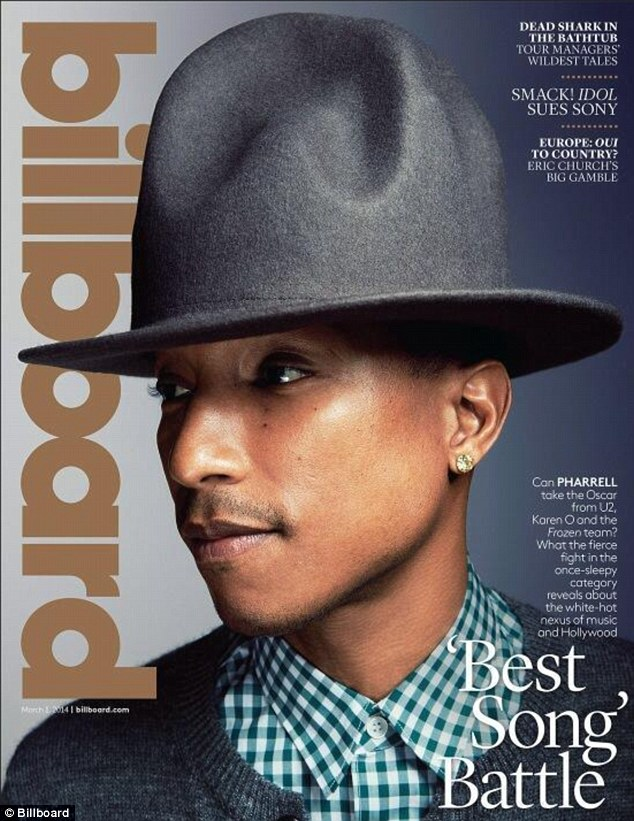 Hat's the way to do it! Pharrell wears his famous hat on the cover of the latest edition of Billboard magazine