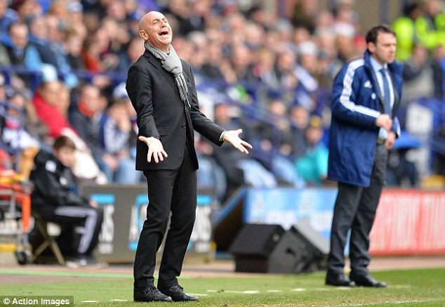 Agony: Watford manager Giuseppe Sannino gets emotional on the touchline