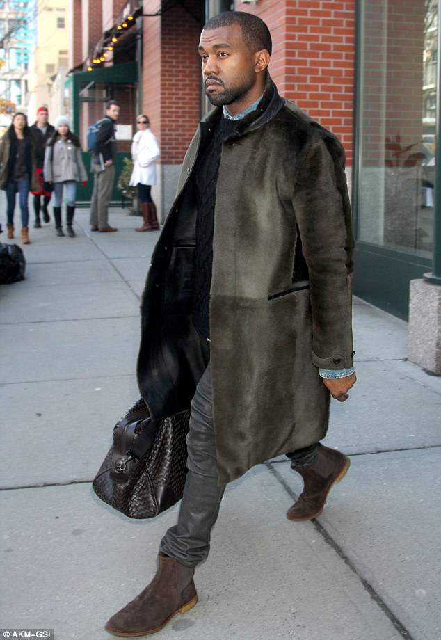 Wrapping up warm: Kanye West, 36, was spotted leaving his apartment in New York on Saturday morning