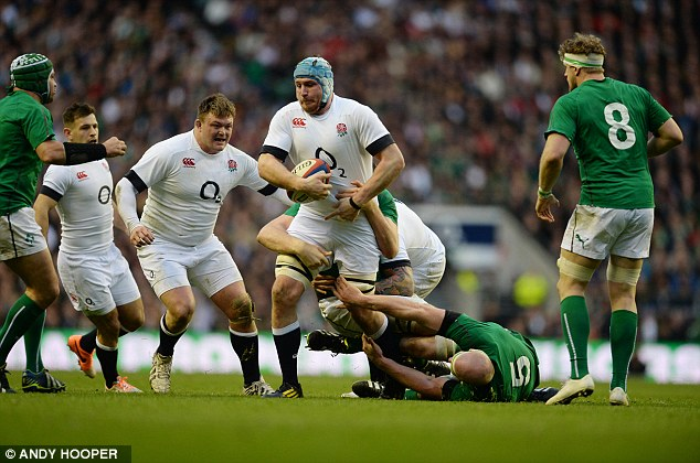 Hard yards: Gloucester's Ben Morgan carries the ball as the England pack keeps momentum on their side