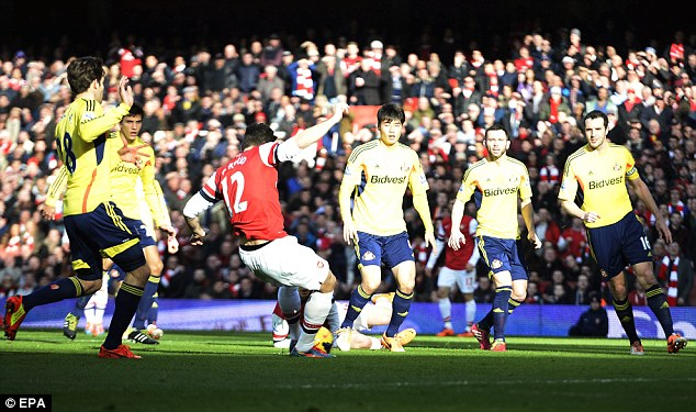 Perfect start: Giroud scored after just five minutes to give Arsenal the perfect start against the Black Cats