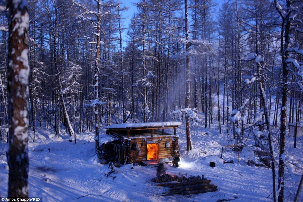 Home: Valdimir lives an often isolated life in a small log cabin near the forest, or taiga, battling one of the most extreme climates on the planet on a daily basis