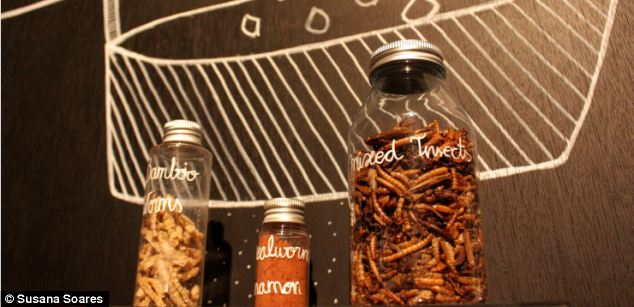 Creepy: The snacks are made of a mixture of insects and chunky mealworms that are ground up. Seasoning and other 'normal' ingredients are added for flavour and to mean that the mixture can be piped by a 3D printer