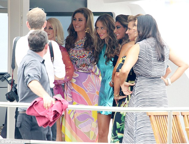 Limelight ladies: The Real Housewives of Melbourne women posing up for a photo in Sydney on Wednesday