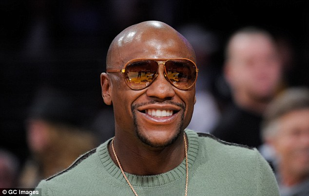 Not in the shade: Mayweather was the star attraction at the Staples Center on Sunday night
