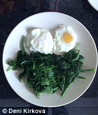 Typical breakfast of poached eggs and steamed spinach
