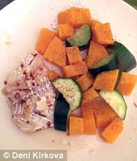 Butternut squash, courgette and lean fish for dinner