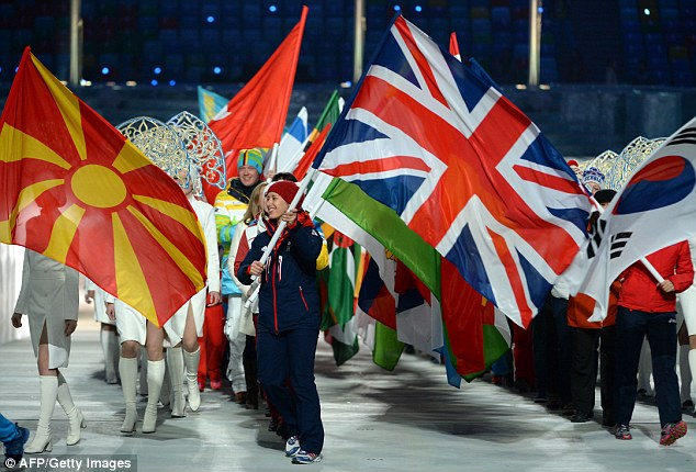 Quaking: Gold medalist Yarnold admitted to nerves when holding up GB's flag at the closing ceremony