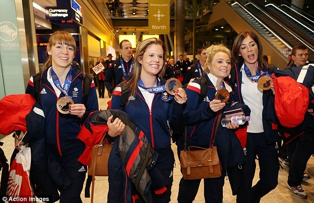 Successful quartet: The women's curling team won the bronze medal in Sochi - (left to right) Claire Hamilton, Vicki Adams, Anna Sloan and Eve Muirhead