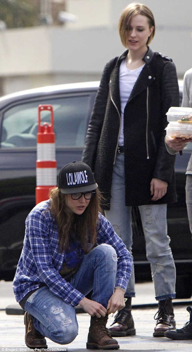 Off duty: Both actresses opted for casual outfits of jeans and boots as they enjoyed a catch up lunch in LA on Sunday