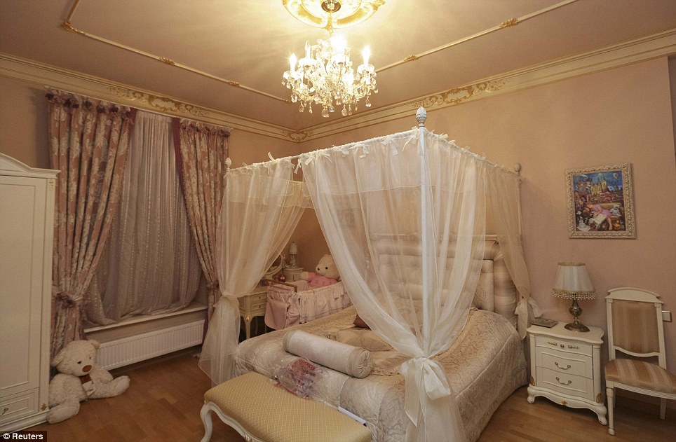 A child's bedroom is just as luxurious, with giant stuffed toys, pink theme and chandelier hanging from the centre of the ceiling