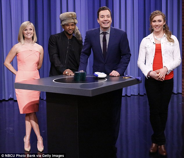 They're game for a laugh: Reese, rapper Usher and Olympic gold medal slalom champ Mikaela Shiffrin played along with Jimmy's Catch Phrase skit