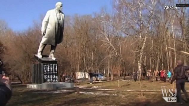 Toppled: The statues of Lenin are being pulled down in acts of rich historical symbolism