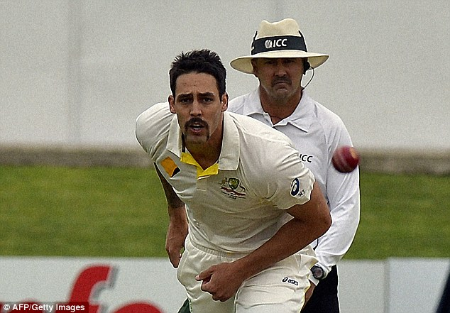 Toil: Australian fast bowler Mitchell Johnson failed to make the same impact in the second Test than he had in the first