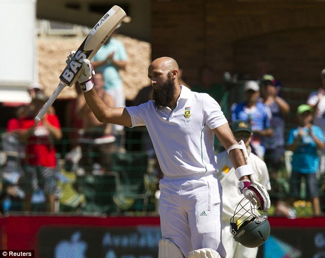 Leading the charge: Hashim Amla's knock of 127 in the second innings helped South Africa to a total of 270-5 declared, setting Australia a target of 448 to win