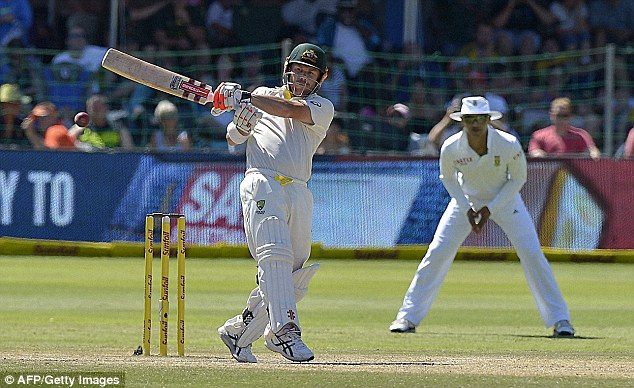 Hitting out: Warner made 66 and Chris Rodgers 107 as Australia chased 448 to win, but all 10 second innings wickets fell for just 90 as hostile reverse swing took hold