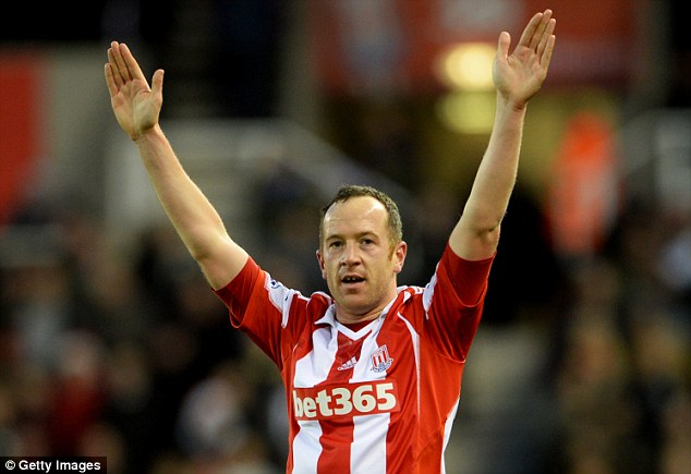 Hands up who is having a good season? Adam celebrates scoring a goal for Stoke against Aston Villa in December 2013