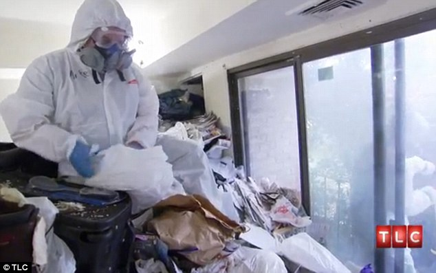 Out of control: Mike, seen here in his living room, is branded the 'Donald Trump of Hoarding' in tomorrow night's episode of TLC's Hoarding: Buried Alive because of the vast wealth of possessions clogging his home
