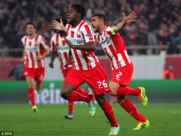 Gunning for it: Arsenal loanee Joel Campbell celebrates his long-range effort to defeat United