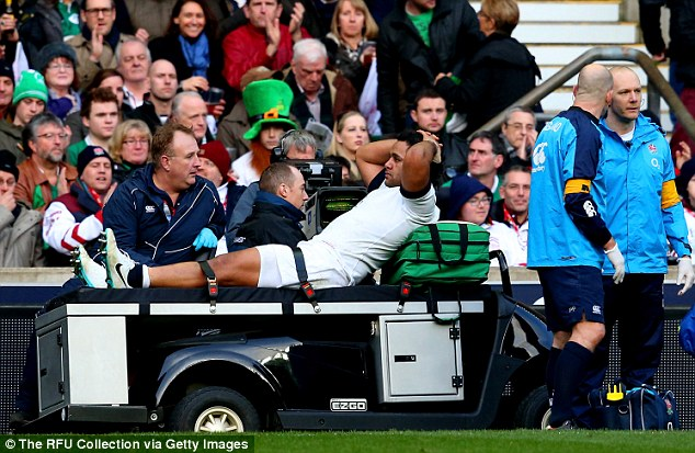 Pain: The forward sprained his ankle during England's 13-10 victory over Ireland on Saturday at Twickenham