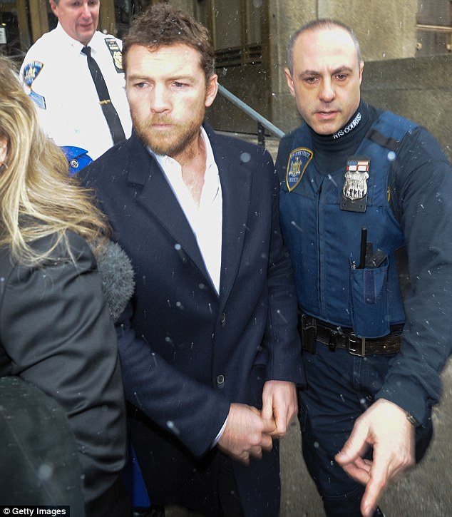 Not his finest moment: Sam Worthington appeared in a New York City Court on Wednesday after being arrested on February 23 for allegedly punching a photographer