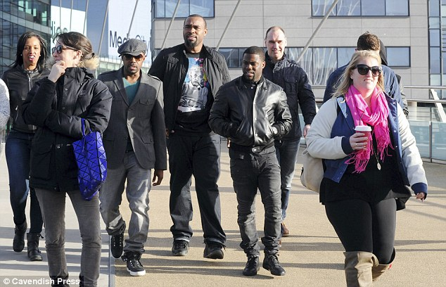Entourage: The actor strolls with outside BBC studios at Salford Quays