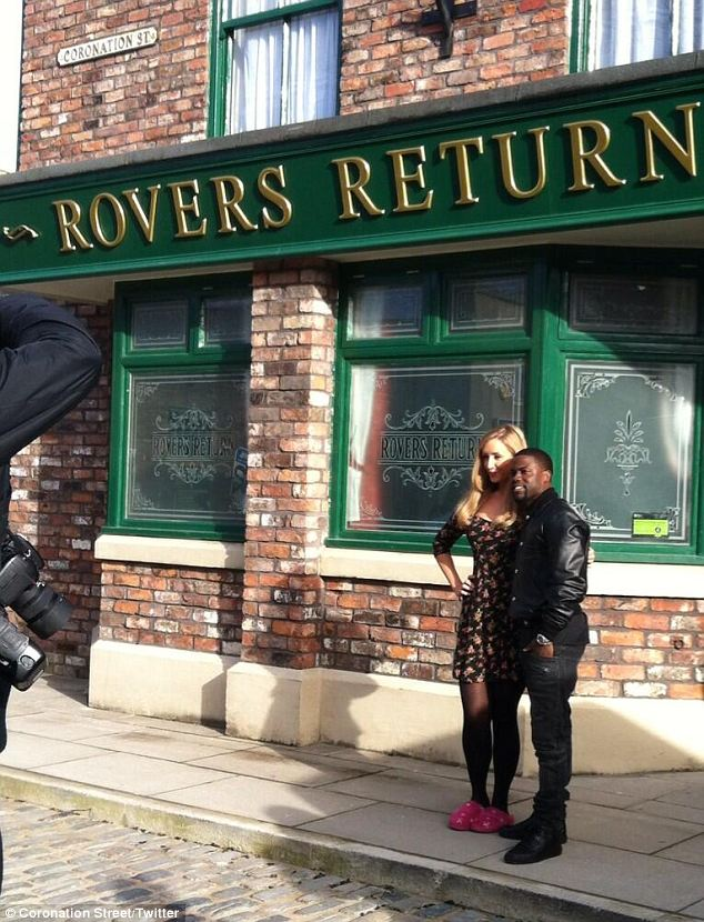 Mid-filming: Catherine Tyldesley meets Kevin Hart in her slippers